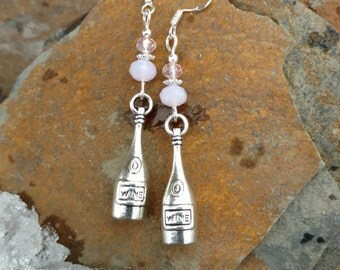Pink Wine Earrings, Light Pink Crystal Wine Bottle Sterling Silver Earrings, Wine Bottle Earrings, Pink Wine Bottle Sterling Earrings