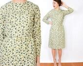 60s Green Print Sheath Dress | Floral Print Dress, Medium