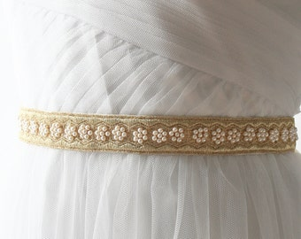 Gold Bridal Belt, Gold Bridal Sash, Bridal Sash, Wedding Sash, Gold Belt, Gold Wedding Sash