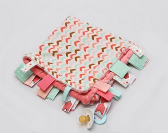Baby Ribbon Tag Blanket - Minky Binky Blankie - Coral and Mint Chevron