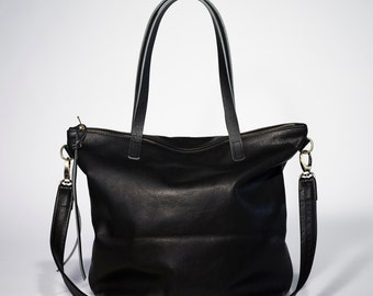 Beautiful Black Leather Tote Bag with zipper Laptop bag