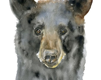 Black Bear Watercolor Painting Giclee Print Fine Art Print 8 x 10 (8.5 x 11)