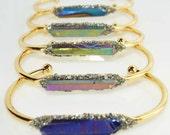 Titanium quartz crystal w Pyrite bangle chakra bracelet Raw crystal healing bracele Stackable natural stone bracelet