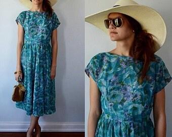 Vintage Teal Green Floral Chiffon Dress, 1950s Dress, Party Dress, Wedding, Bridesmaid, 1950s Chiffon Dress, Chiffon Dress