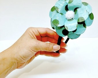 Turquoise & Green Dot Daisy Paper Mache Headband