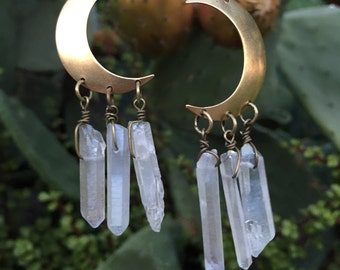Brass Moon Earrings/ Quartz Crystal Earrings/ Natural Gem Stone Earrings/ Dangle Earring/ Geode Earrings/ Cresent Moon Earrings