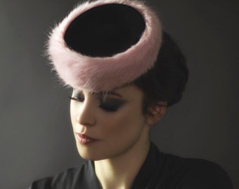 Cocktail Hat, Vintage Style with Fur Trim, Elegant Fashion Pillbox, 1940's Fashion Millinery -  Maple