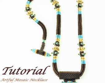 Beaded Necklace Tutorial with Seed Beads and Crystals Artful Mosaic Necklace Tutorial Digital Download by Ezartesa