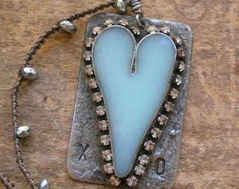 Rustic heart pendant crochet necklace - XO - Boho jewelry soldered love pendant silver sky blue, gift for her Valentines Day barn wedding
