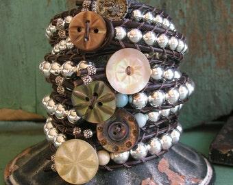 Sterling silver stackable bracelets -  Elemental - CHOOSE your BEADS, Bohemian boho jewelry leather wrap bracelets, antique buttons