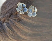 Bridal Bobby Pins, Wedding Hair Pins, Vintage Bobby Pins, Something Blue, Bridesmaid Bobby Pins, Vintage Enamel Rhinestone Flower Hair Pins