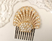 Art Deco Rose Gold Rhinestone Bridal Hair Comb, Small OOAK 1930s Pave Crystal Vintage Dress Clip to Wedding Hairpiece, Antique Hairpiece