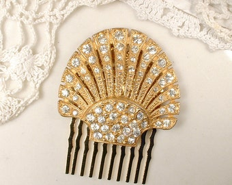 Art Deco Gold Rhinestone Bridal Hair Comb, Small OOAK 1930s Pave Crystal Vintage Dress Clip to Wedding Accessory Antique Hairpiece Downton