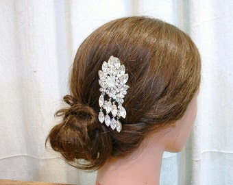 OOAK Rhinestone Hair Comb Old Hollywood Glam Bridal, Designer JULIANA Clear Crystal Silver Fairytale Wedding Headpiece Vintage Hairpiece
