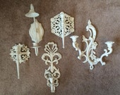 Candle sconces candle holders Heirloom White Shabby Variety Homco