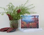 """Assorted Note Cards- 8 Note Cards with Envelopes, Four Assorted Autumn Landscape Paintings- """"Fall Colors"""" Watercolor Art by Laura D. Poss"""