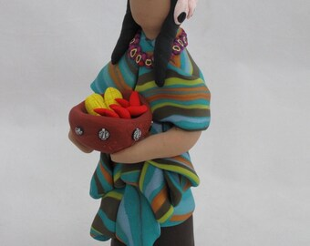 Women of the earth polymer clay sculpture figurine with harvest bowl