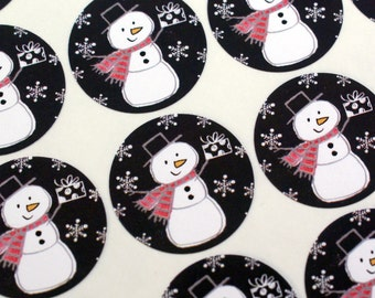 Holiday Snowman with snowflakes, present & knit scarf sticker - chalkboard black winter snowman sticker - christmas snowman sticker