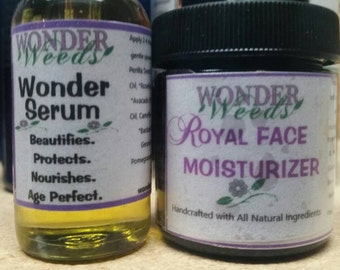 Royal Face Moisturizer and Wonder Serum, organic ingredients, all natural, mature, oily, normal skin, age perfect
