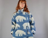 Vintage 90s Women's Lillunn of Norway Polar Bear Design Warm Wool Blanket Fall Winter Coat