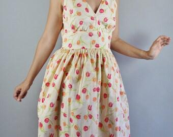 Vintage 90s does 50s Women's Tulips Print Midi Full Skirt Spring Summer Cotton Sundress Wedding Guest Day Dress