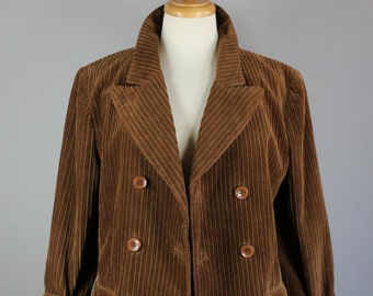 Vintage 90s Women's Dark Brown Corduroy Double Breasted Short Fall Blazer Jacket