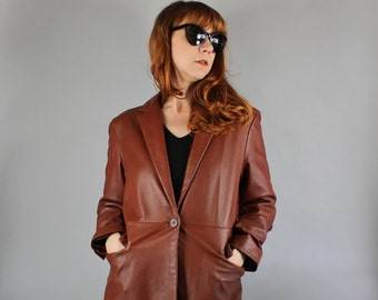Vintage 90s does 70s Women's Brown Mahogany Leather Blazer Rocker Jacket