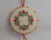 Floral Wreath Pinkeep Pin Keep Pincushion Sewing Accessory