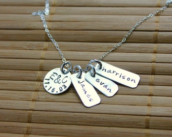 Family Necklace, mom necklace, Hand Stamped, Sterling Silver