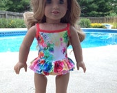 NEW! One-piece double ruffled Swimsuit made to fit 18 inch  doll