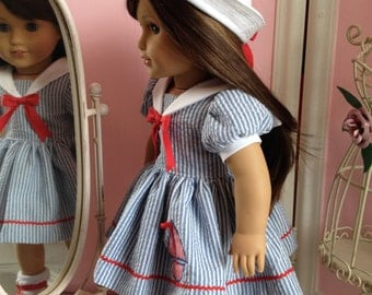 American Made Sailor dress and hat made to fit  18 inch  Doll