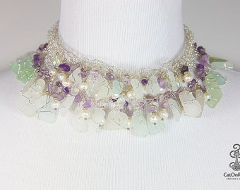 Crocheted Wire Lace Necklace, Crochet Sea Glass Necklace, Amethyst Necklace, Crochet Wire Jewelry, Wire Bib Necklace, Sea Glass Jewelry,