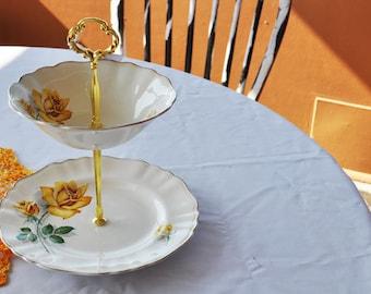 2 Tier Cake Stand, matching yellow rose Vintage G & J Meakin English China plates