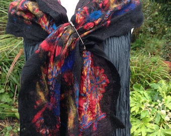 Red blue black Nuno felted Silk scarf. Art to wear with gold accents
