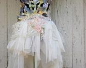 Wedding dress,steampunk, bridal dress, alternative wedding, cage corset, gold, victorian, faery wedding, romance, gold,white,high low dress