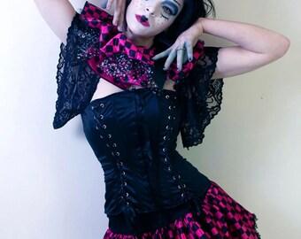 Checkered clown micro mini skirt Adult tutu topper fuchsia black dance halloween gogo roller durby gothic - You chose size -SistersEnchanted