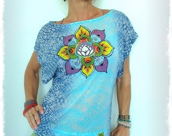 LOTUS top Hand painted clothing Burnout Tee Boat neck top Colorful BOHO Hippie Yoga Fashion Womens Festival tops Casual top size S GPyoga