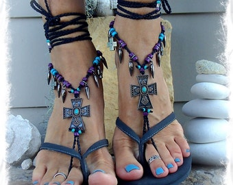 Goth CROSS BAREFOOT Sandals music FESTIVAL sandals Christian Wedding Native Indian Cowgirl Rockstar Sandal crochet foot jewelry GPyoga