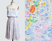 Vintage 70s FLORAL Sun DRESS / Pink & Blue Floral Print Midi Dress, xs s m