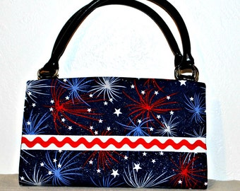 Red White Blue 4th of July Fireworks Magnetic Bag Shell Cover