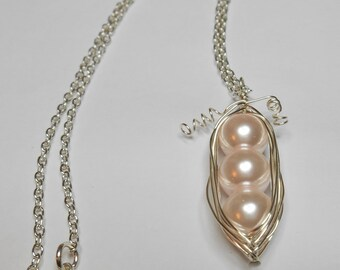 Baby Pink And Silver Pea Pod Pendant With Silver Plated Chain and Silver Plated Lobster Clasp Necklace
