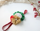 Merry Fete - red gold white and green Christmas sequin metallic rosette and flower headband bow