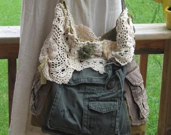 Military Canvas Shoulder Purse, Urban Chic Weekender Bag, brown, green, boho, hobo, tote