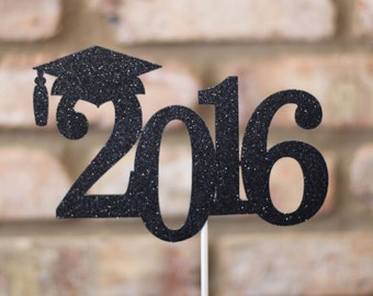 2016 Graduation Cake Topper, Graduation Cake Topper, 2016 Cake Topper,  Black Glitter 2016 Graduation Cake Topper, Graduation Centerpiece