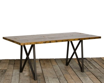 "Dining Table with 1.65"" reclaimed wood top and our modern monarch style legs"