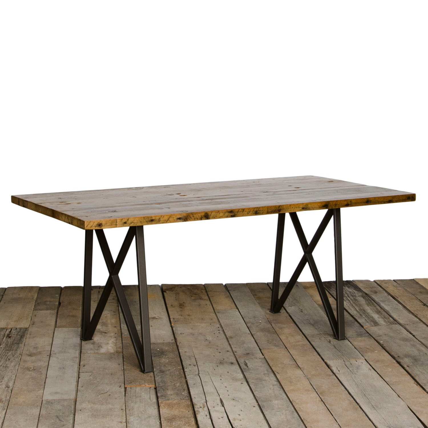 dining table with reclaimed wood top and our modern