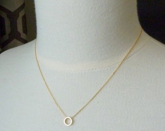 Made for me. Simple Gold Circle Necklace. 16k yellow gold plated. modern. delicate. whimsical. simple. dainty. layering.