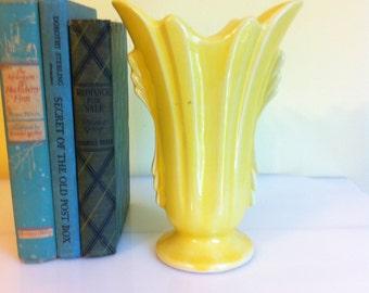 Vintage Pottery Vase, Yellow Gloss Glaze, Marked USA