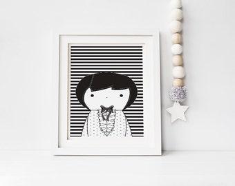 Nursery Wall Art, Scarlett Black and White printable baby room decor