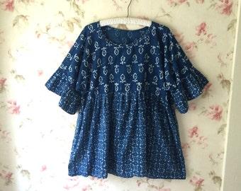 Indigo Blue Block Printed Cotton Tunic Shirt Prairie Lagenlook  One Size